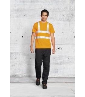 MERCURE PRO - 1721 - TEE-SHIRT BANDES HAUTE VISIBILITÉ   Tee-shirt col rond  Deux bandes horizontales et deux bandes verticales