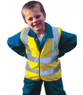 GILET HAUTE VISIBILITÉ ENFANT - DSA22007 100% polyester tricoté. Deux bandes haute visibilité de 5cm sur le corps et une sur cha