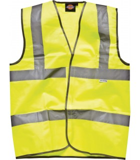 Gilet Haute Visibilité - DSA22010 100% polyester tricoté. Deux bandes haute visibilité de 5cm sur le corps et une sur chaque épa