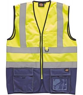 Gilet Bicolore Haute Visibilité - DSA22021 100% polyester.  Deux bandes 5 cm haute visibilité autour du corps et une sur chaque