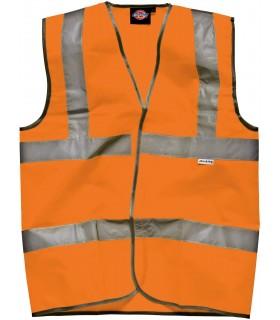 Gilet Haute Visibilité - DSA30310 100% polyester tricoté. Deux bandes haute visibilité de 5cm sur le corps et une sur chaque épa