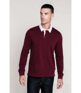 Polo rugby - K213 100% coton peigné jersey pré-rétréci. Col en coton sergé contrasté blanc (sauf coloris Red et Dark Grey avec c
