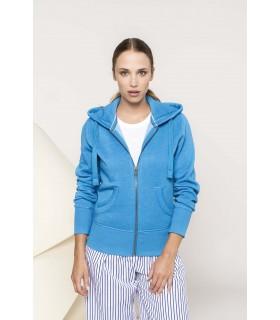 Sweat-shirt zippé capuche mélange femme - K461 60% polyester / 40% coton. Molleton gratté chiné. Capuche doublée nid d'abeille.