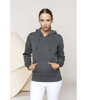 Sweat-shirt capuche mélange femme - K463 60% polyester / 40% coton. Molleton gratté chiné. Capuche doublée nid d'abeille. Bande