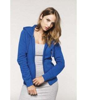 Sweat-shirt zippé capuche femme - K464 80% coton peigné / 20% polyester. Molleton gratté. Bande de propreté contrastée à l'encol