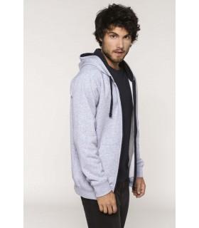 Sweat-shirt zippé capuche contrastée - K466 80% coton peigné / 20% polyester. Molleton gratté. Passe fil écouteurs dans la poche