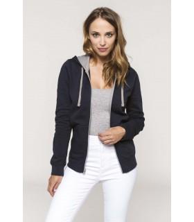 Sweat-shirt zippé capuche contrastée femme - K467 80% coton peigné / 20% polyester. Molleton gratté. Passe fil écouteurs dans la