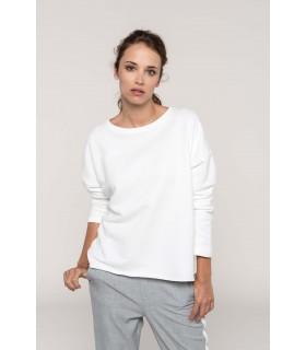 Sweat-shirt femme Loose - K471 91% coton / 9% polyester (87% coton / 9% polyester / 4% viscose pour coloris chiné). Molleton non