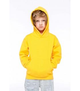 Sweat-shirt capuche enfant - K477 80% coton / 20% polyester. Molleton gratté. Manches montées. Coupe tubulaire. Capuche doublée.