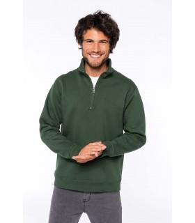 Sweat-shirt col zippé - K478 80% coton / 20% polyester. Molleton gratté. Manches montées. Coupe tubulaire. Col zippé avec bande