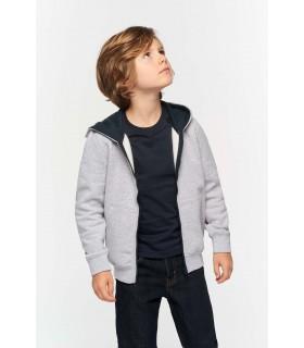 Sweat-shirt zippé capuche enfant - K486 80% coton peigné / 20% polyester. Molleton gratté. Bord-côte bas de manches et de vêteme