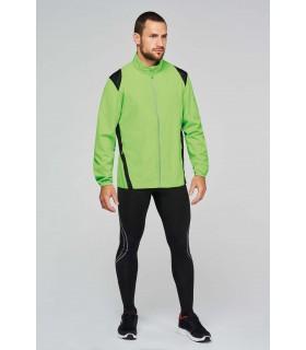 COUPE-VENT - PA215 100% polyester microfibre avec enduction acrylique. 2 poches zippées devant. Empiècements en filet épaules et