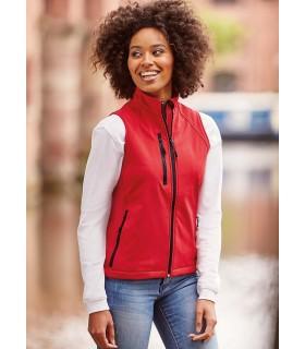 BODYWARMER SOFTSHELL FEMME - RU141F 92% polyester / 8% élasthanne. Tissu léger respirant à 3 couches, imperméable 5000mm. Ajusté