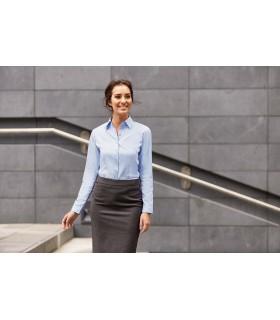 CHEMISE FEMME MANCHE LONGUES À CHEVRONS - RU962F 84% coton / 16% polyester. Cette chemise à motif à chevrons offre une alternati
