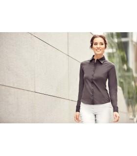 CHEMISE FEMME STRETCH MANCHES LONGUES - RU993F 90% coton peigné / 10% élasthanne pour le corps de la chemise. Col, poignets et p