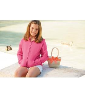SWEAT-SHIRT ENFANT ZIPPÉ CAPUCHE CLASSIC (62-045-0) - SC62045 80% coton / 20% polyester. Bande de propreté ton sur ton en Jersey