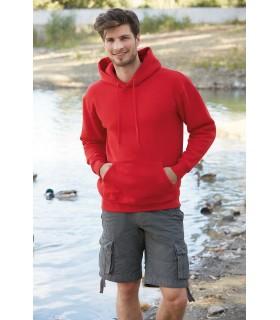 Sweat-shirt capuche Premium - SC62152 Sauf Heather Grey - 260 g/m². 70% coton / 30% polyester. Capuche doublée avec cordons plat