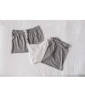 Kit Pyjama - version courte - TC052 Single Jersey 100% coton (Heather Grey : 85% coton / 15% viscose). Kit Pyjama comprenant : 1