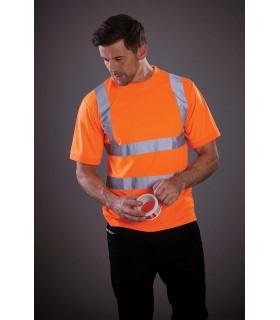 T-shirt manches courtes haute visibilité - YHVJ410 100% polyester. Toucher doux. Col et poignets en bord côte doux ton sur ton.