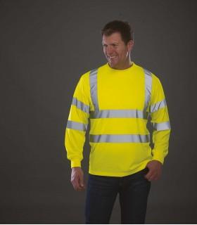 T-shirt haute visibilité manches longues - YHVJ420 100% polyester. 2 bandes réfléchissantes (largeur 5 cm) autour du corps et de
