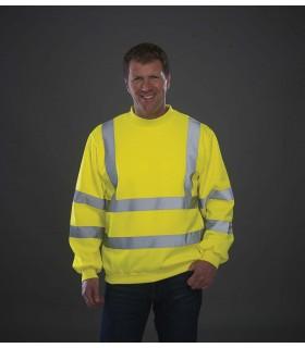 Sweat-shirt haute visibilité - YHVJ510 100% polyester antiboulochage. Bande de propreté au col. Manches montées. Taille, col et