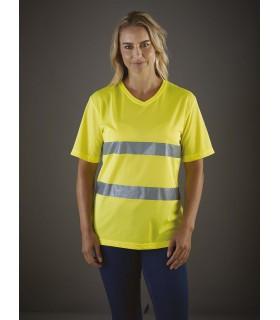 T-shirt haute visibilité Top Cool - YHVJ910 100% polyester Top Cool haute visibilité à séchage rapide. Corps et bandes réfléchis