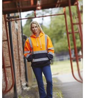 Sweatshirt capuche haute visibilité - YHVK05 100% polyester anti-boulochage. 2 bandes réfléchissantes (largeur 5 cm) autour du c