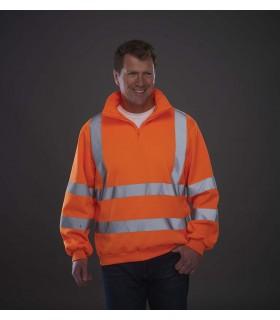 Sweat-shirt 1/4 zip haute visibilité - YHVK06 100% polyester antiboulochage. Col montant doublé dans le même tissu. ¼ zip ton su