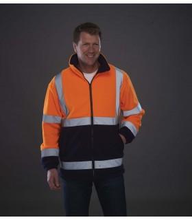 Veste polaire haute visibilité - YHVK08 100% polyester. Deux bandes réfléchissantes 3M autour du corps et des bras et une sur ch