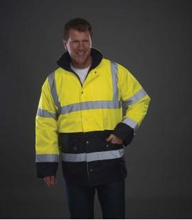 Veste de sécurité bicolore haute visibilité - YHVP302 100% polyester 300 D avec revêtement PU imperméable, rembourrage matelassé