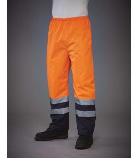 Surpantalon haute visibilité imperméable - YHVS46 100% polyester. Revêtement Oxford PU. Imperméable. Deux bandes réfléchissantes