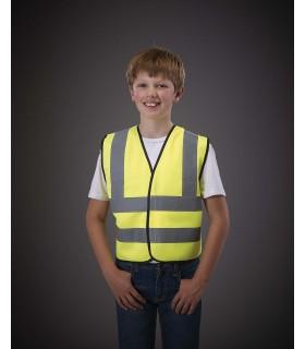 Gilet haute visibilité enfant - YHVW100CH 100%polyester avec fermeture par Velcro®. Deux bandes réfléchissantes de 5cm de lar