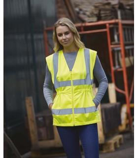 Gilet haute visibilité Management femme - YHVW180 100% polyester. Maille filet à l'arrière et taille semi-élastiquée. Passepoil