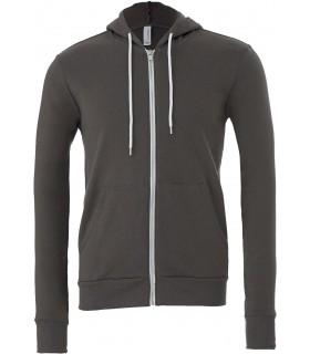 SWEAT-SHIRT ZIPPÉ CAPUCHE UNISEXE - BE3739 60 % coton peigné Ring-Spun / 40 % polyester. Sweat-shirt avec bande de propreté et c