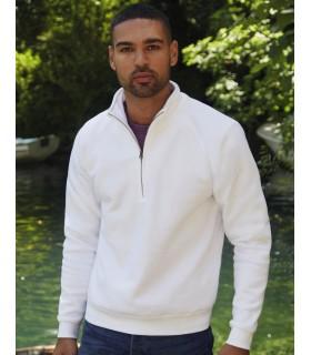 Zip-Neck Sweatshirt FRUIT OF THE LOOM - 261 ·280 g/m²  ·70% coton ringspun, 30% polyester  ·manches raglan  ·encolure avec 1/2 f