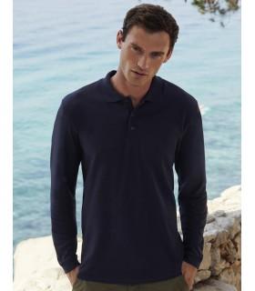 Premium Long Sleeve Polo  542 ·White: 170 g/m², couleurs: 180 g/m² ·100% coton (Ash: 90% coton, 10% polyester) ·patte de boutonn
