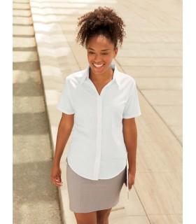 CHEMISE FEMME MANCHES COURTES OXFORD (65-000-0) - SC65000 70% coton / 30%polyester. Coutures latérales cintrées avec pinces au