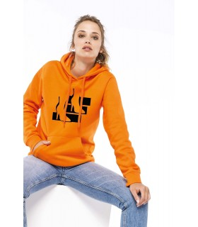 Sweat-shirt capuche femme - K473 80% coton / 20% polyester. Molleton gratté. Manches montées. Coupe tubulaire. Capuche doublée a